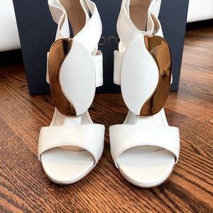 Sergio Rossi White & Gold Sandals